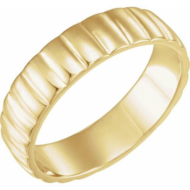 6mm Wide Grooved Scalloped Men's Wedding Band