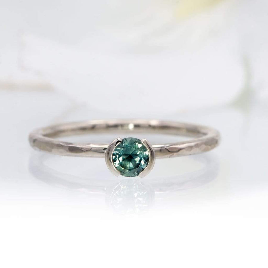 Green/Blue Montana Sapphire Half Bezel Skinny Hammer Textured Stacking Solitaire Ring, Ready To Ship, size 4-9