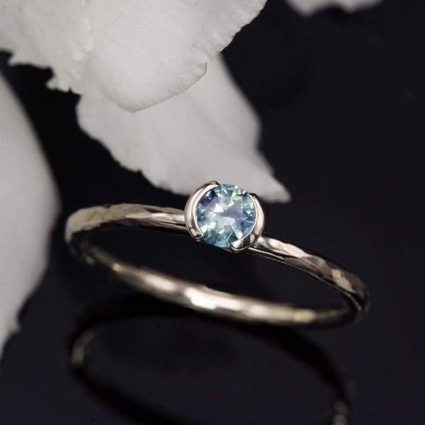 Green/Blue Montana Sapphire Half Bezel Skinny Hammer Textured Stacking Ring, Ready To Ship, size 4-9