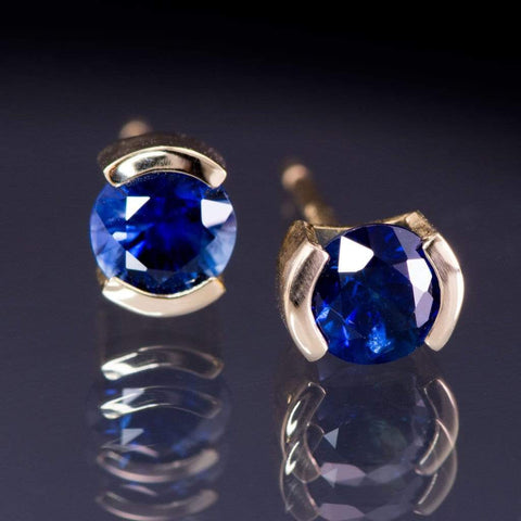 Blue Sapphire 14k Yellow Gold Half Bezel Stud Earrings, Ready to Ship - by Nodeform
