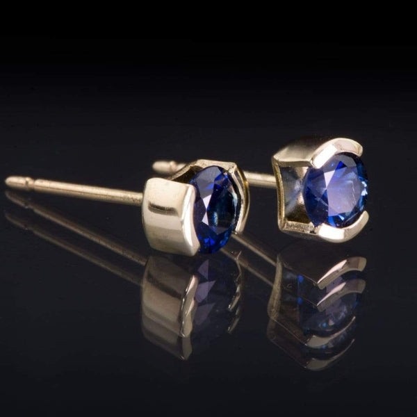 Blue Sapphire 14k Yellow Gold Half Bezel Stud Earrings, Ready to Ship