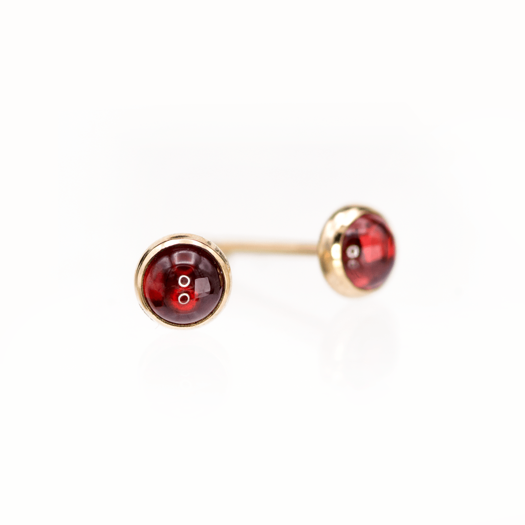 4mm Garnet Cabochon Studs Earrings in 14k Gold Filled, Ready to Ship