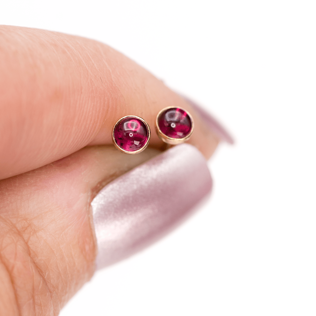 Garnet Cabochon Studs Earrings in 14k Gold Filled, Ready to Ship