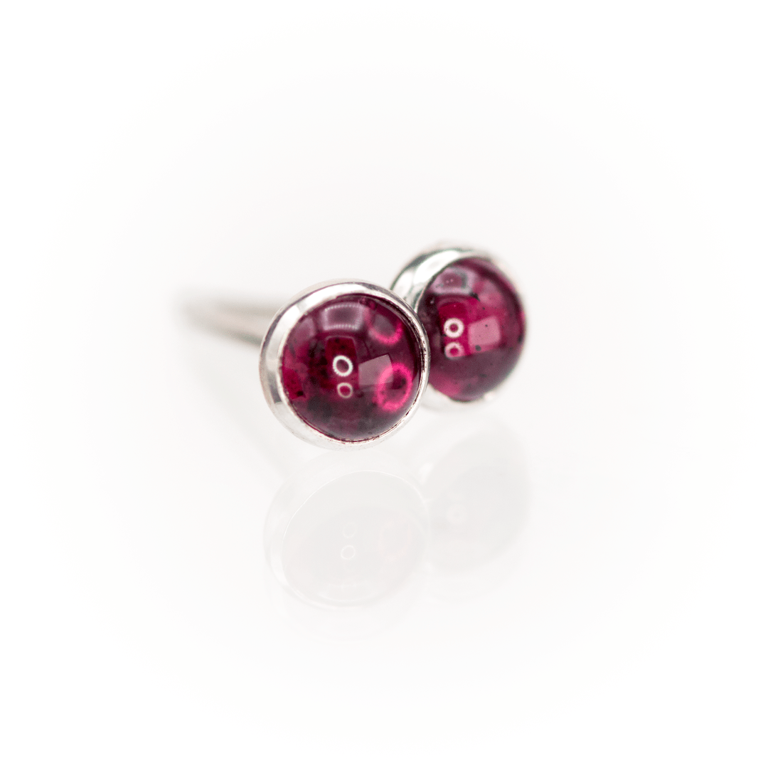 Garnet Cabochon Stud Earrings in Sterling Silver, Ready to Ship