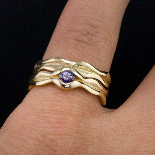 Wave Alexandrite Engagement Ring