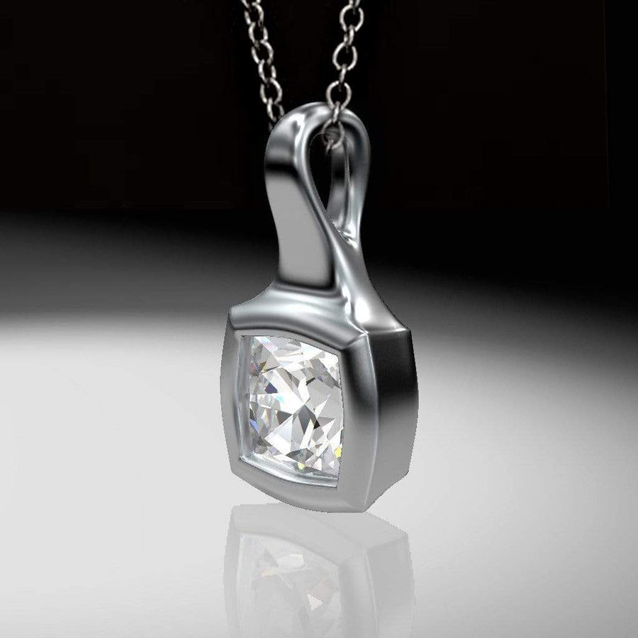 Cushion Cut Diamond Palladium Drop Pendant Necklace - by Nodeform