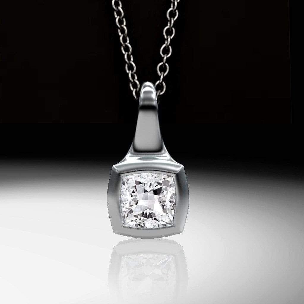 Cushion Cut Diamond Palladium Drop Pendant Necklace