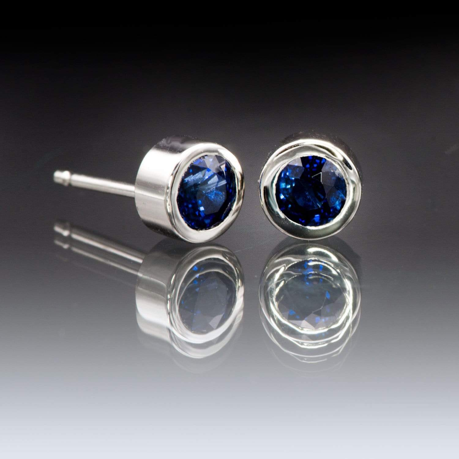 Simple Blue Sapphire Bezel Set Stud Earrings