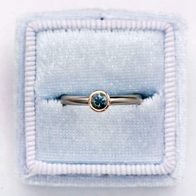 Mixed Metal Petite Blue-Green Round Montana Sapphire Solitaire Engagement Ring