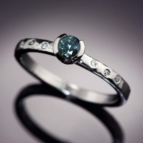 Teal Fair Trade Montana Sapphire & Canadian Diamond Half Bezel Hammer Textured Engagement Ring, Ready To Ship, size 5-9