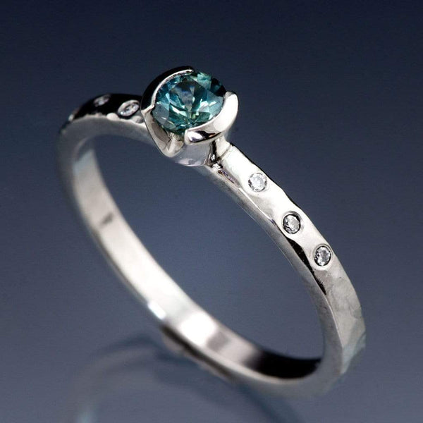 Teal Montana Sapphire & Canadian Diamond Half Bezel Hammered Engagement Ring, Ready To Size 5-9