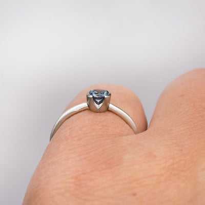 Green/Blue Teal Montana Sapphire Half Bezel Skinny Stacking Solitaire Ring