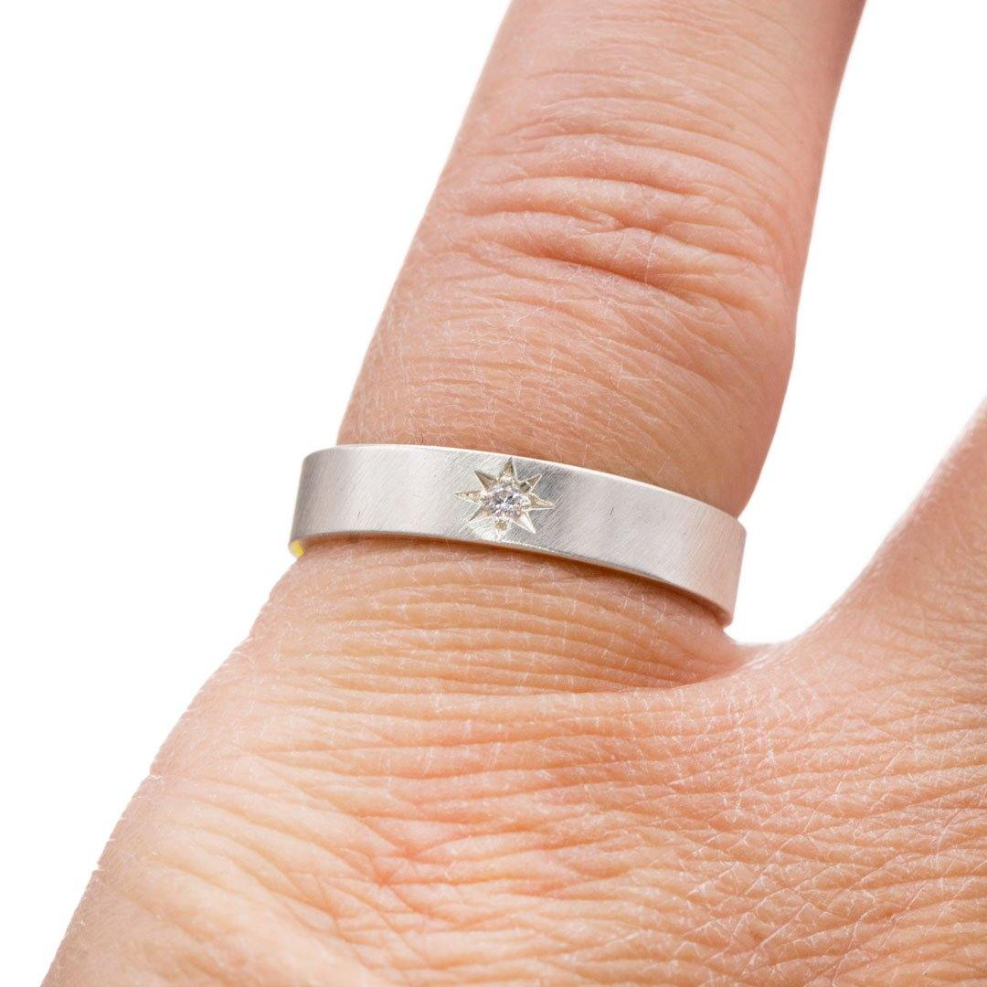 Flat Wedding Band with Star Set Moissanite - Nodeform