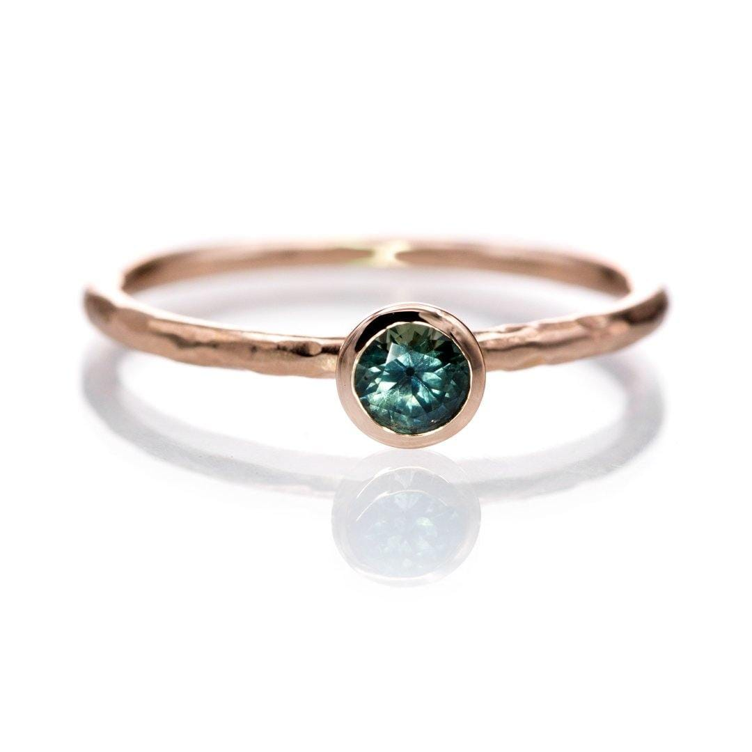 4mm Teal Green/Blue Montana Sapphire Martini Bezel Skinny Hammer Textured 14k rose gold Stacking Solitaire Ring, Ready To Ship, size 4-9