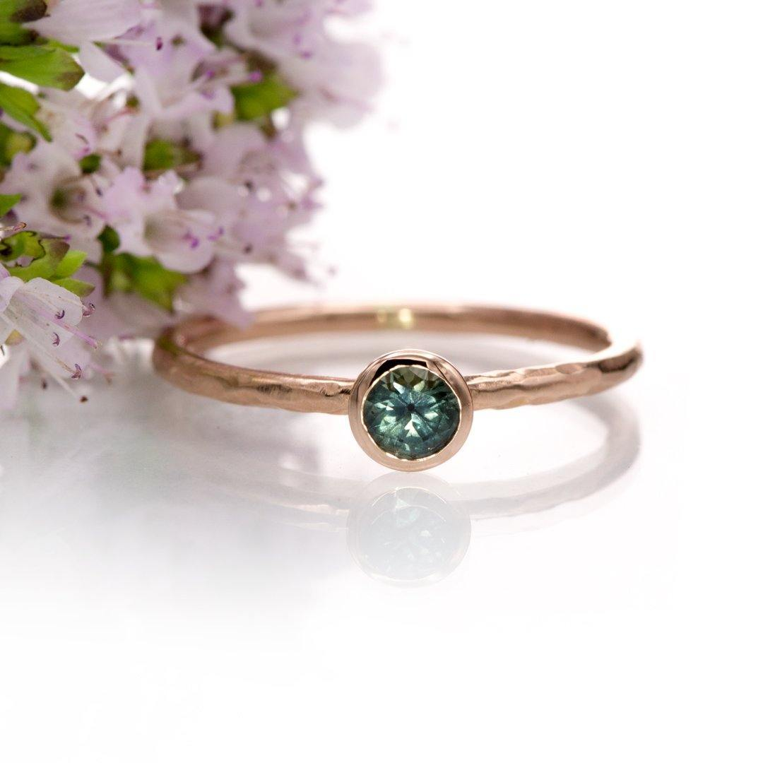 4mm Teal Green/Blue Montana Sapphire Martini Bezel Skinny Hammer Textured 14k rose gold Stacking Solitaire Ring, Ready To Ship, size 4-9 - Nodeform