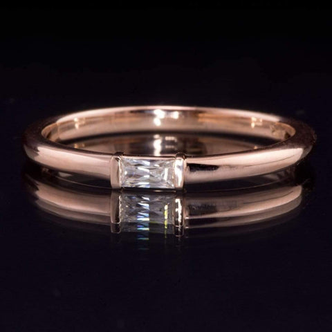 Baguette Moissanite Rose Gold Stacking Promise Ring, Ready to Ship size 5-8 - by Nodeform