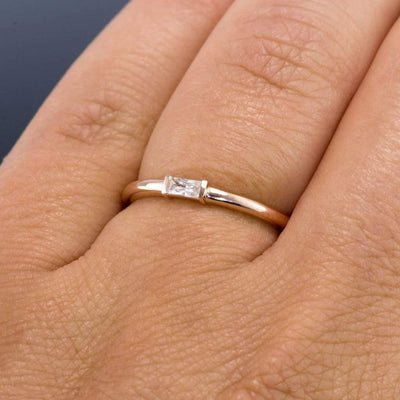 Baguette Moissanite Stacking Promise Ring - by Nodeform