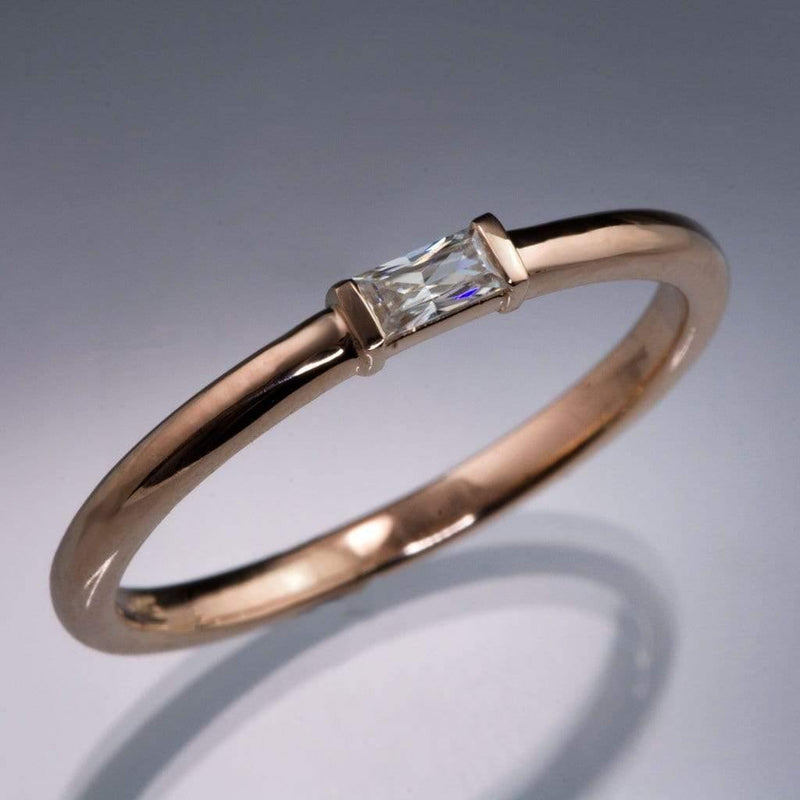 Baguette Diamond Stacking Promise or Engagement Ring - by Nodeform