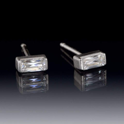 Baguette Moissanite Bar Set Stud Earrings