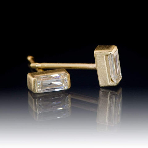Supernova Baguette Moissanite Studs & 14k Yellow Gold Earrings, Ready To Ship