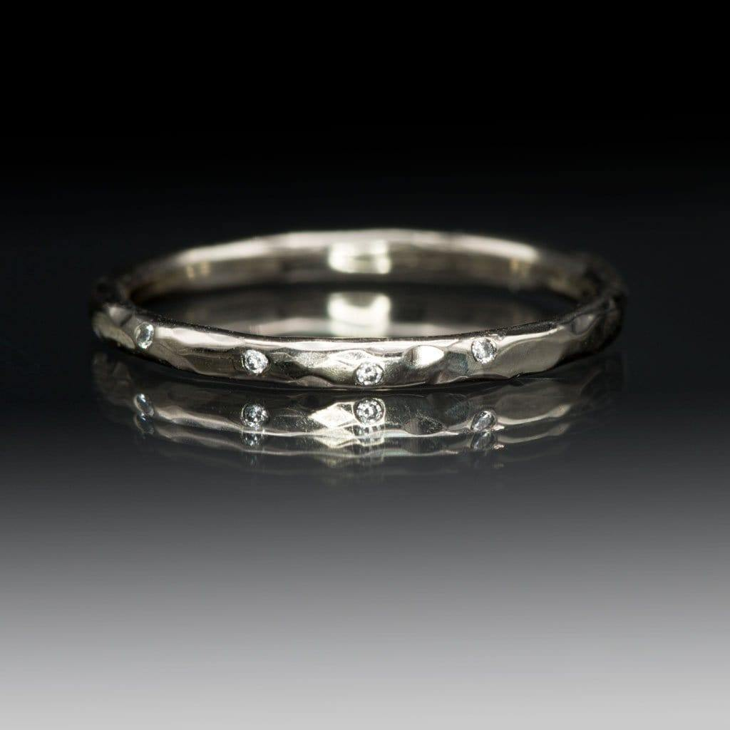 5 Diamond 14kPD White Gold Skinny Hammered Wedding Ring, Ready to Ship