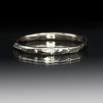Thin Diamond Wedding Ring Skinny Hammered Texture Wedding Band