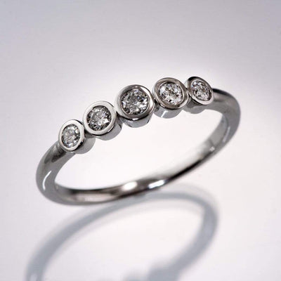Fiona Band - Graduated Diamond, Ruby or Sapphire Five Bezel Stacking Anniversary Ring