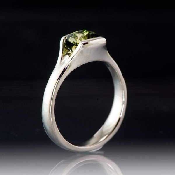 Cushion Cut Australian Green Sapphire Fold Half-Bezel Engagement Ring