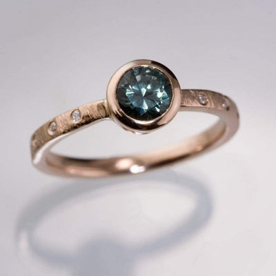 Teal Fair Trade Montana Sapphire & Canadian Diamond Bezel Rasp Textured Engagement Ring