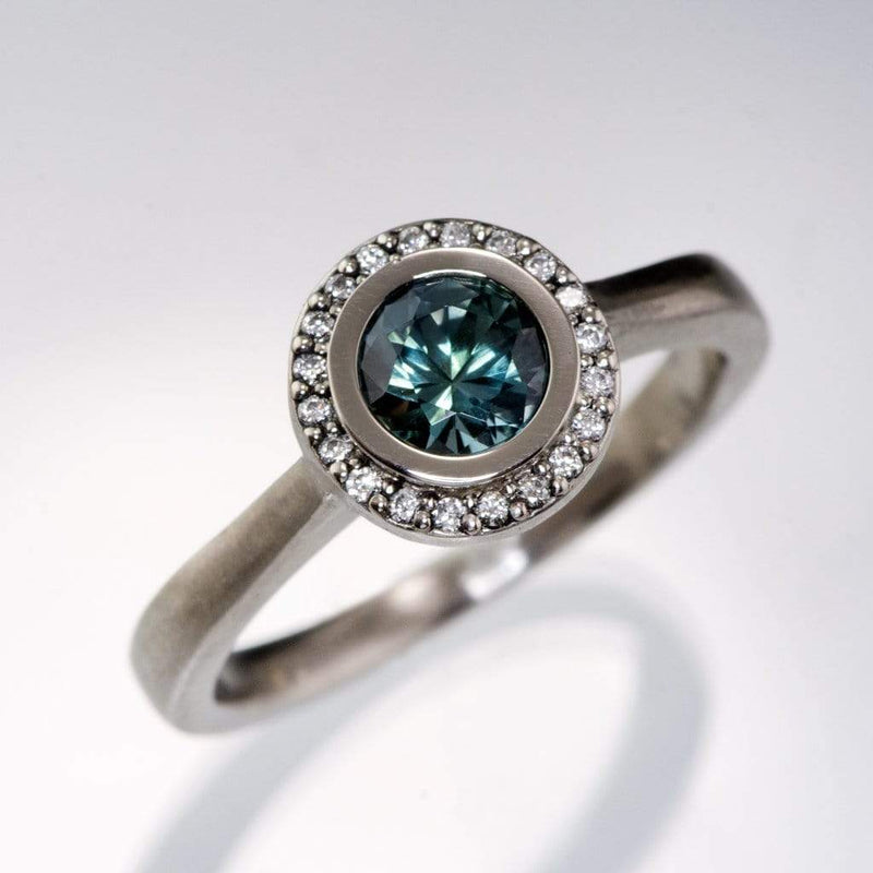 Teal Blue/Green Montana Sapphire & Canadian Diamond Halo Palladium Engagement Ring Ready To Size 4-9