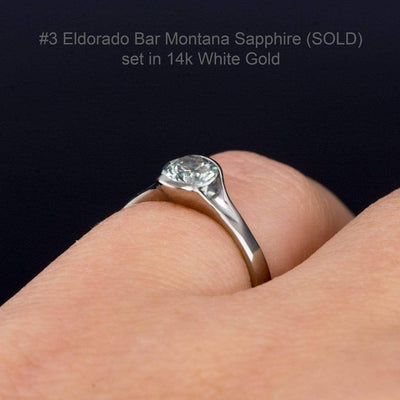 Blue to Green Eldorado Bar Montana Sapphire Fold Half Bezel Engagement Ring - by Nodeform