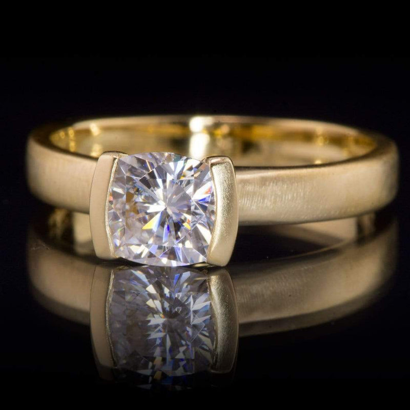 Cushion Moissanite Ring Modified Tension Solitaire Yellow Gold Engagement Ring