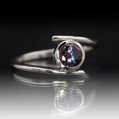 Chatham Alexandrite Bezel Bypass Solitaire Engagement Ring