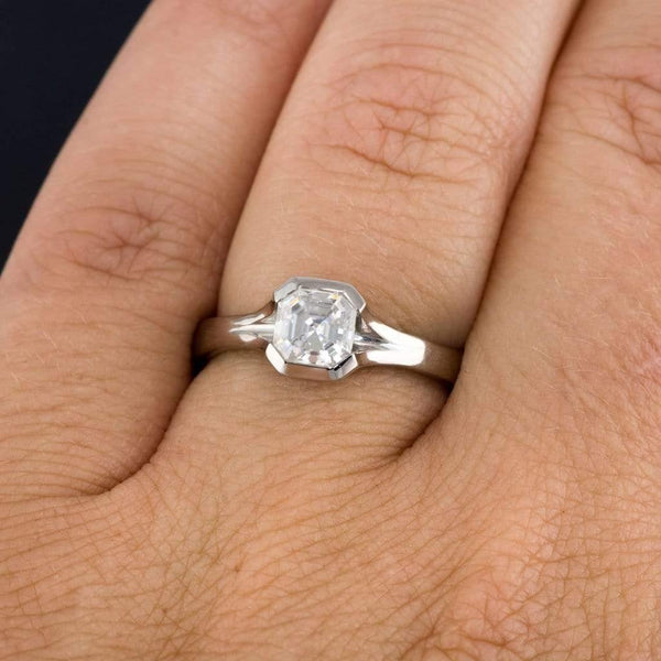 Asscher Cut Moissanite Fold Semi-Bezel Set Solitaire Engagement Ring - by Nodeform