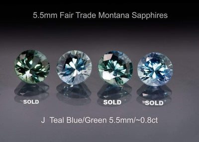 Fair Trade Teal/Blue Montana Sapphire Half Bezel Moissanite Star Dust Engagement Ring