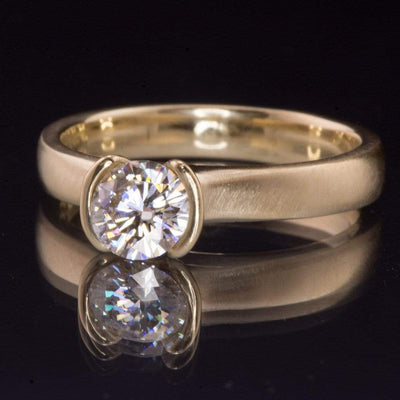 Round Brilliant Cut Moissanite Semi-Bezel Solitaire Gold Engagement Ring