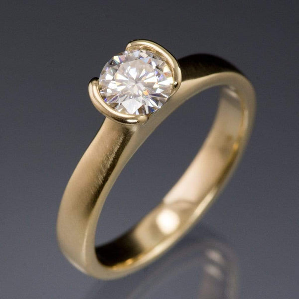 Round Moissanite Semi-Bezel Gold Engagement Ring - by Nodeform