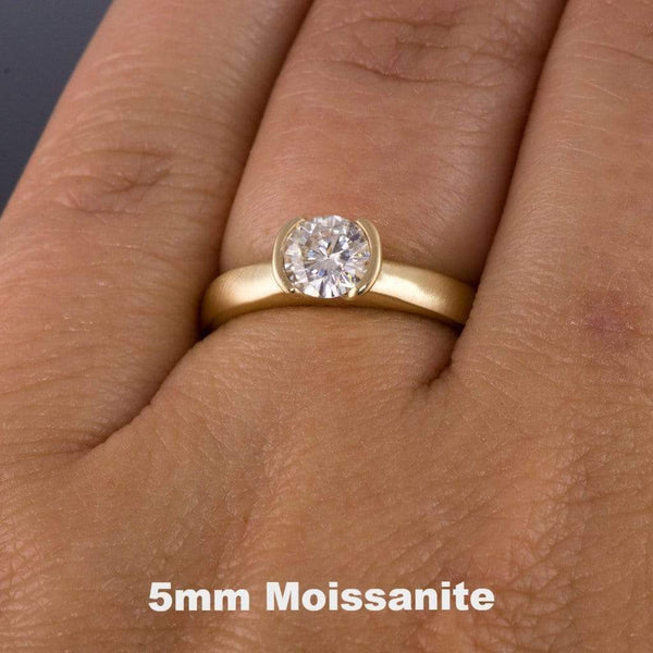 Round Moissanite Semi-Bezel Gold Engagement Ring