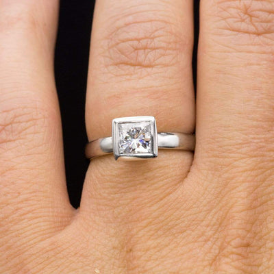 Princess Cut Moissanite Bezel Solitaire Engagement Ring