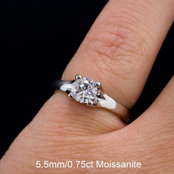 Moissanite Classic Round Prong Solitaire Engagement Ring - by Nodeform