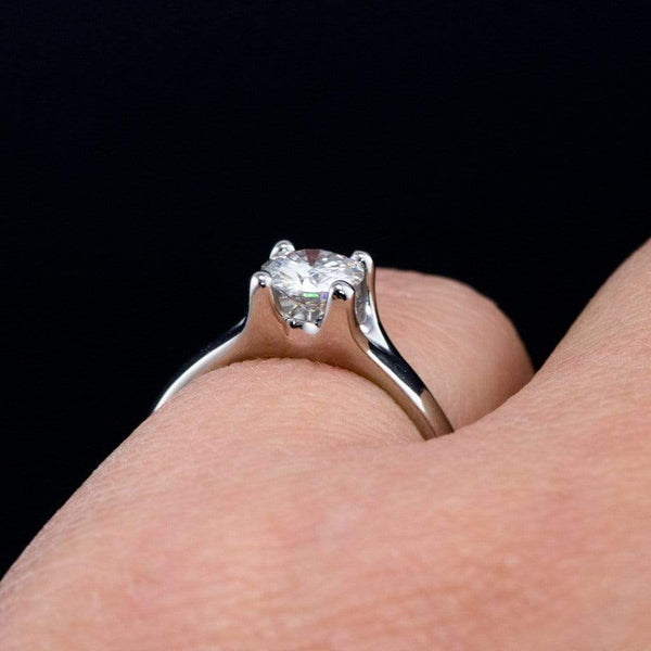Moissanite Classic Round Prong Solitaire Engagement Ring