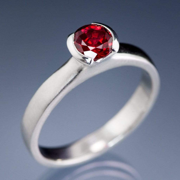 Chatham Ruby Half Bezel Engagement Ring