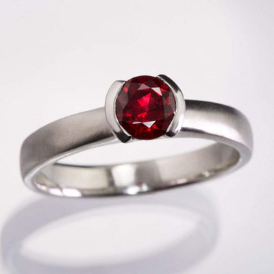 Chatham Ruby Half Bezel Engagement Ring - by Nodeform