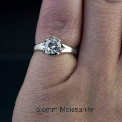 Round Moissanite Fold Semi-Bezel Set Solitaire Engagement Ring - by Nodeform
