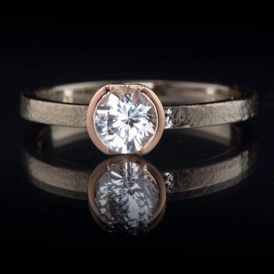 White Sapphire Rose Gold Semi-Bezel Textured Solitaire Engagement Ring