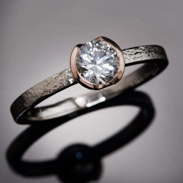 White Sapphire Rose Gold Semi-Bezel Textured Engagement Ring