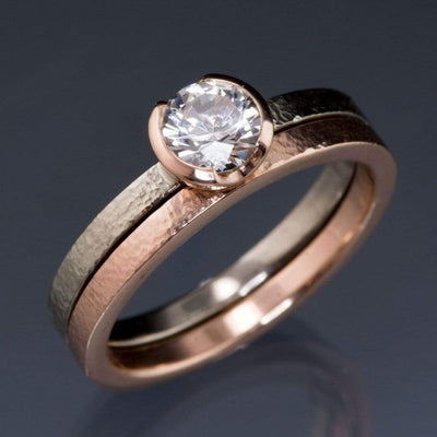 White Sapphire Rose Gold Semi-Bezel Textured Engagement Ringand Wedding Band Bridal set