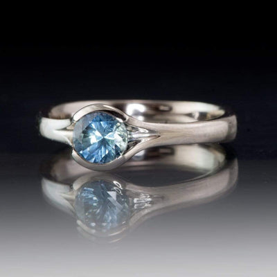 Fair Trade Teal / Blue Montana Sapphire Fold Solitaire Engagement Ring