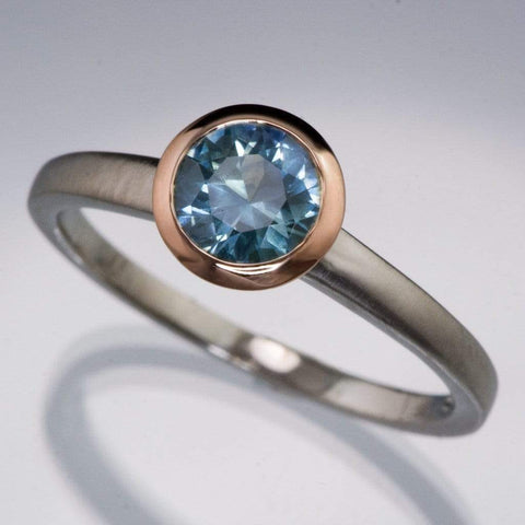 Mixed Metal Fair Trade Blue / Teal Montana Sapphire Engagement Ring