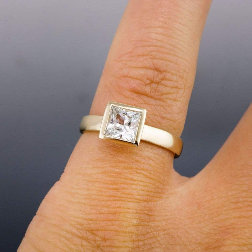 white sapphire engagement ring princess cut bezel solitaire - White Sapphire Wedding Rings